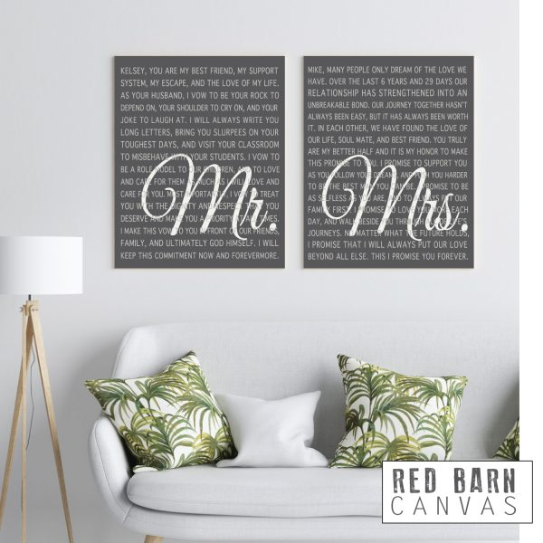 Wedding vows on canvas, Mr and Mrs Custom wedding vows, Red Barn Canvas
