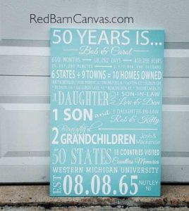 50 years is, anniversary custom canvas