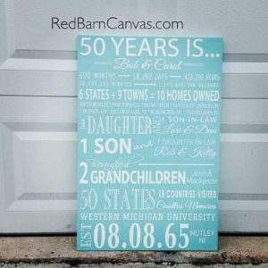 50 years is, anniversary custom canvas