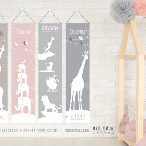 safari theme growth chart, red barn canvas